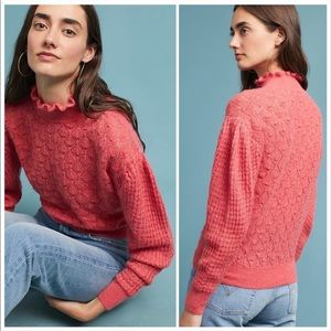 Anthropologie Coral Puff Sleeve Sweater
